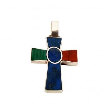 colgante - cruz oval - ag piedra -0055bns